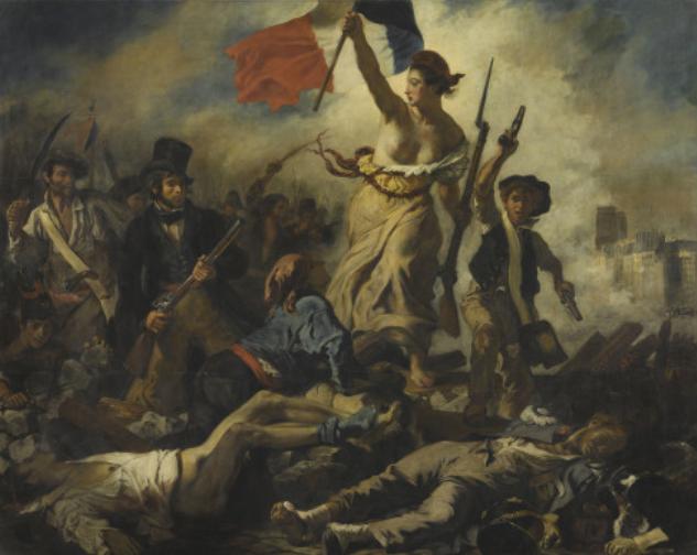 """Eugène Delacroix, July 28, 1830: """"Die Freiheit führt das Volk"""", 1830/1831 Salon, Musée du Louvre, Paris © RMN-Grand Palais (musée du Louvre) / Michel Urtado"""