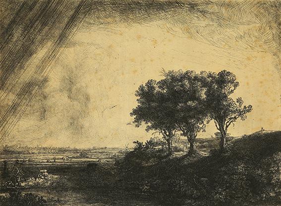 Rembrandt Harmensz. van Rijn Die drei Bäume